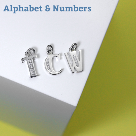 sterling silver alphabet and numbers charms