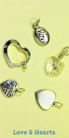 love & hearts charms