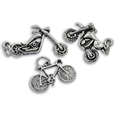 Bike & Motorbike Charms in Silver