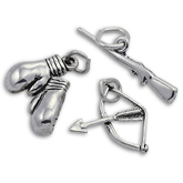 Sterling Silver Boxing and Shooting Charms