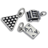 Sterling Silver Cards, Snooker and Gambling Charms