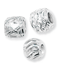 Classic Patterned Bead Charms in Silver