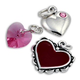 Sterling Silver Crystal and Enamel Heart Charms