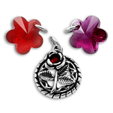 Sterling Silver Crystal Flower Charms