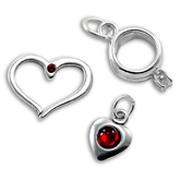 Silver Love & Heart Charms with Crystal