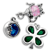 Sterling Silver Charms with Crystal and Swarovski Elements