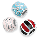 Sterling Silver Enamelled Bead Charms