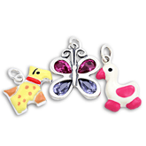 Sterling Silver Enamel and Crystal Charms