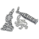 English & British Charms in Silver