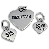 Message Heart Charms in Sterling Silver