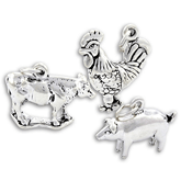 Sterling Silver Farmyard Charms