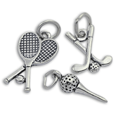 Sterling Silver Golf and Tennis Charms