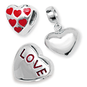 Sterling Silver Love and Heart Bead Charms
