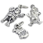 Sterling Silver Santa Claus Charms