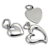 Sterling Silver Simple Heart Charms