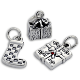 Sterling Silver Stocking & Gift Charms