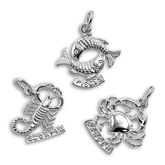 Sterling Silver Zodiac Tag Charms