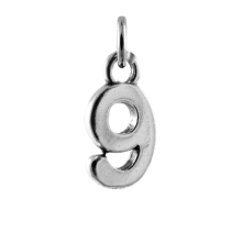 Sterling Silver Number 9 Charm