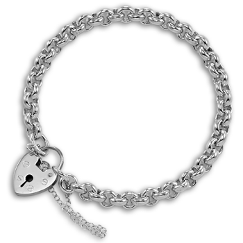Sterling Silver Belcher Bracelet with Heart Clasp