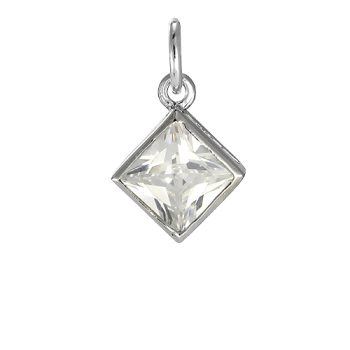 Sterling Silver Square Crystal Charm