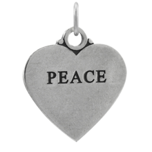 Sterling Silver Peace Heart Charm