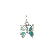 Sterling Silver Turquoise Inlay Small Butterfly Charm