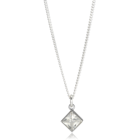 Sterling Silver Square Crystal Charm Necklace