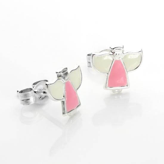 Sterling Silver Pink Angel Earrings