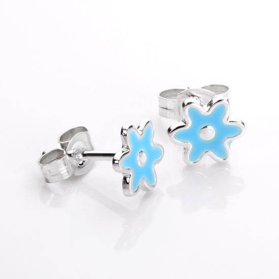 Sterling Silver Blue Flower Stud Earrings