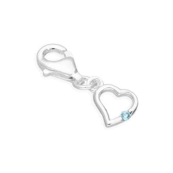 Sterling Silver & Blue Zircon CZ Crystal December Birthstone Heart Clip on Charm