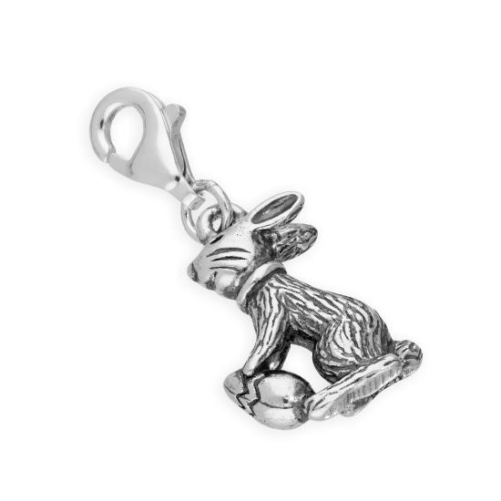 Sterling Silver Easter Bunny w Easter Egg Clip on Charm
