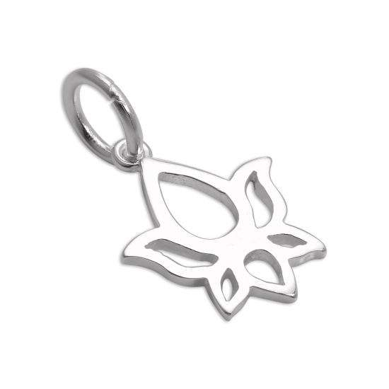 Sterling Silver Cut Out Lotus Flower Outline Charm