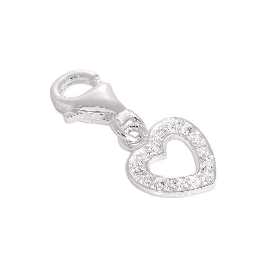 Sterling Silver & CZ Crystal Encrusted Open Heart Clip on Charm