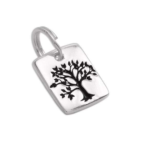 Sterling Silver Flat Engraved Tree Tag Charm
