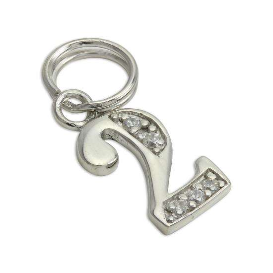 Sterling Silver & Clear CZ Crystal Number 2 Charm