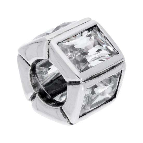 Sterling Silver & Rectangular Clear CZ Crystal Pentagon Bead Charm