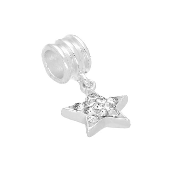 Sterling Silver & Purple CZ Crystal Hanging Star Bead Charm