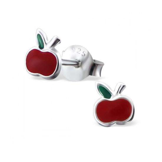 Sterling Silver Apple Stud Earrings