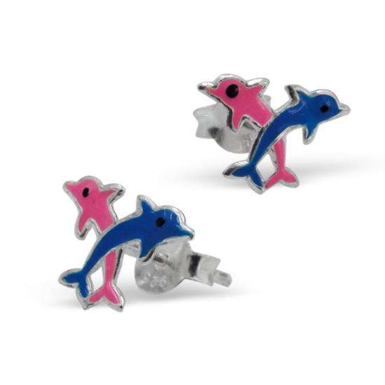 Sterling Silver Jumping Dolphin Stud Earrings