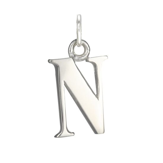 Sterling Silver Alphabet Letter N Charm
