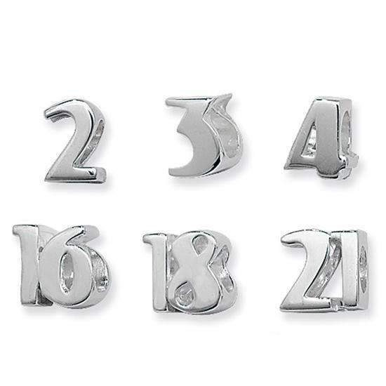 Sterling Silver Number Bead Charms 0 - 9 & 16 & 18 & 21