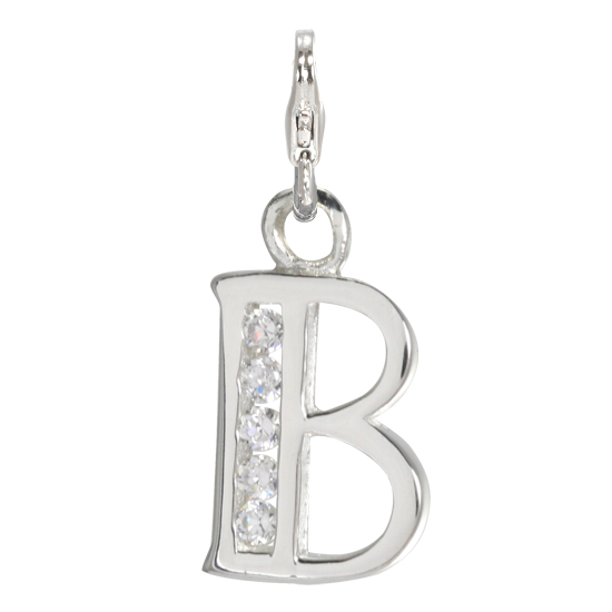 sterling silver alphabet letter b charm on clip