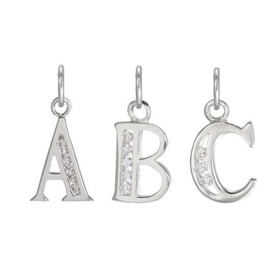 Sterling Silver Crystal Alphabet Letter A Charm On Jump