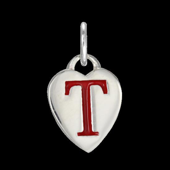 Sterling silver enamel heart alphabet letter t charm for Letter t charm