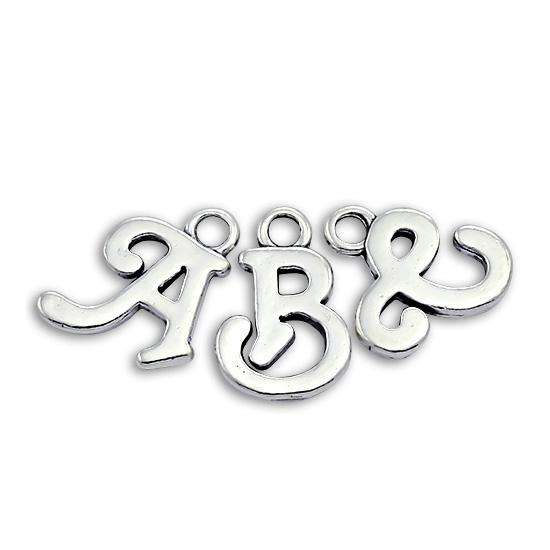 Sterling Silver Script Alphabet Letter Charms A - Z