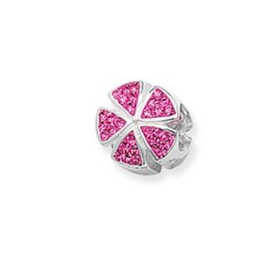 Sterling Silver & Pink Segments Bead
