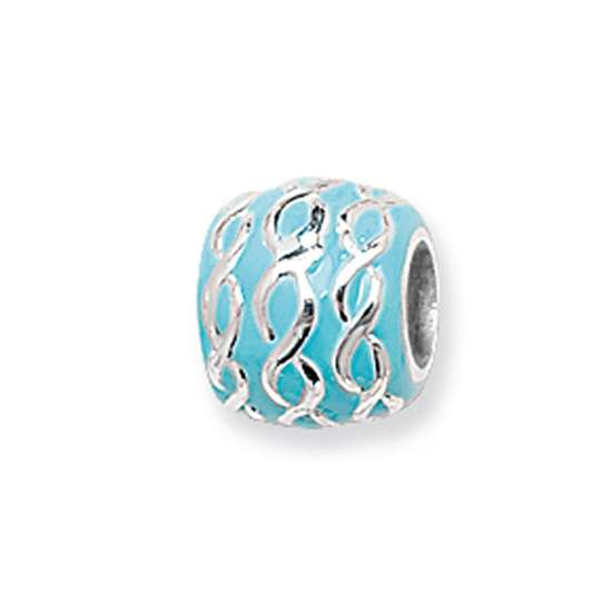 Sterling Silver Interlocking Aquamarine Bracelet Bead