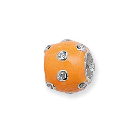 Sterling Silver Orange Scattered Crystal Bead