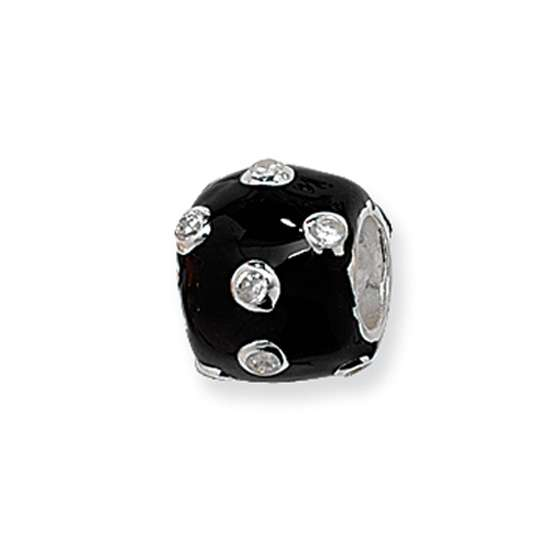 Sterling Silver Black Scattered Crystal Bead
