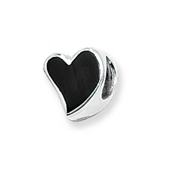 Sterling Silver and Enamel Black Heart Bead